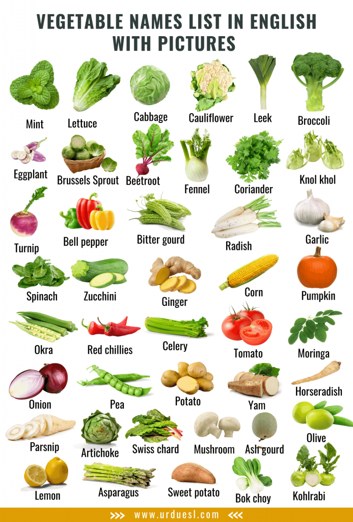 List of all vegetables in English with their pictures